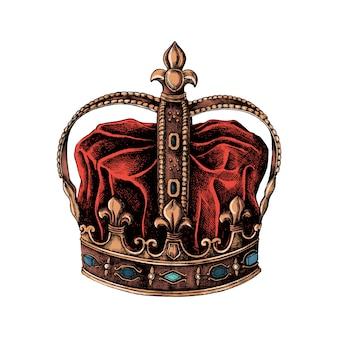 Hand gezeichnete krone lokalisiert auf weißem hintergrund