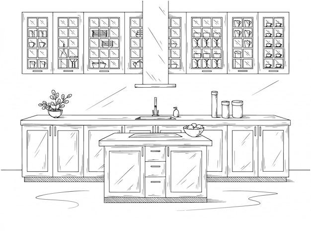 Hand gezeichnete küche. illustration im skizzenstil