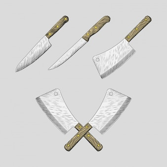 Hand gezeichnete küchenmesser stellten illustrationen ein