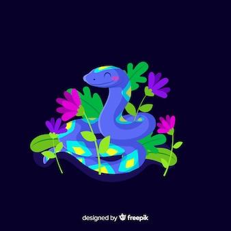 Hand gezeichnete lächelnde schlange mit blumenhintergrund