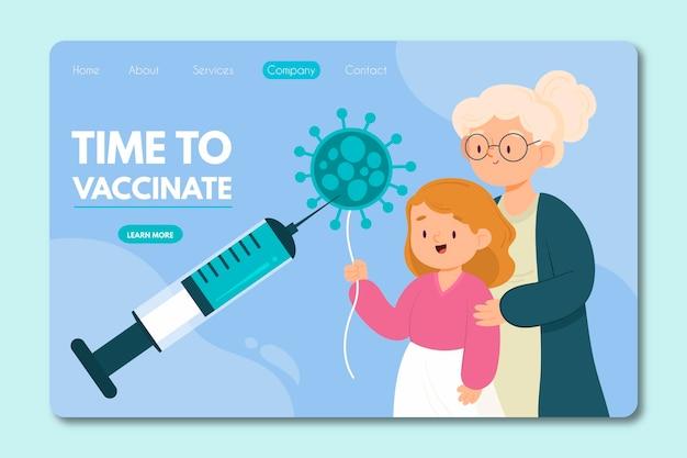 Hand gezeichnete landingpage des coronavirus-impfstoffs