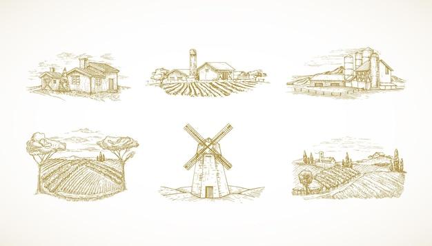 Hand gezeichnete landschaften illustrationen sammlung set bauernhöfe