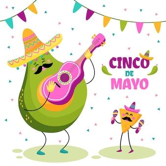 Hand gezeichnete lebensmittelfiguren, die cinco de mayo feiern