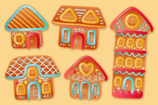 Hand gezeichnete lebkuchenhaussammlung