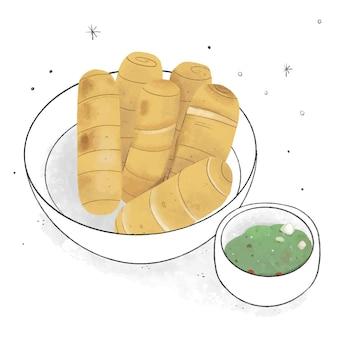Hand gezeichnete leckere tequeños mit sauce