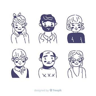 Hand gezeichnete leute-avatarasammlung