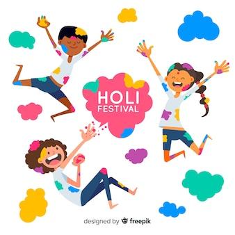 Hand gezeichnete leute, die holi festival feiern