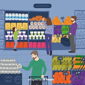 Hand gezeichnete leute, die im supermarkt kaufen