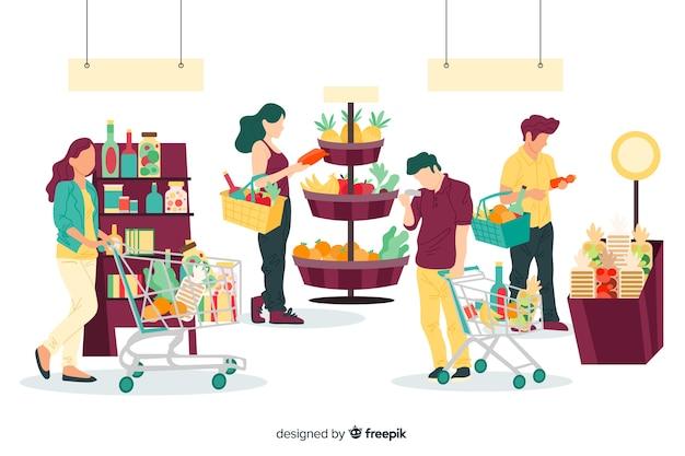 Hand gezeichnete leute, die im supermarkthintergrund kaufen