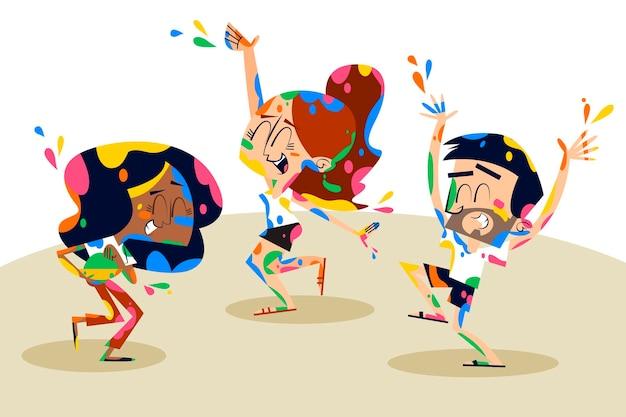 Hand gezeichnete leute, die in den farben holi festival stehen
