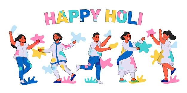 Hand gezeichnete leute, die in farben holi festival feiern