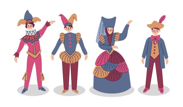 Hand gezeichnete leute, die italienische karnevalskostüme tragen