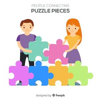 Hand gezeichnete leute, die puzzlespielillustration machen
