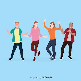 Hand gezeichnete leute, die satz tanzen