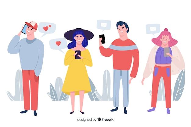 Hand gezeichnete leute, die smartphonesammlung verwenden