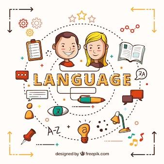 Hand gezeichnete leute, die verschiedene sprachen sprechen