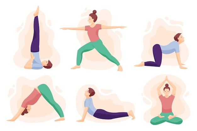 Hand gezeichnete leute, die yoga machen