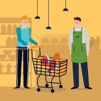 Hand gezeichnete leute im supermarkt
