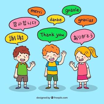 Hand gezeichnete leute mit rede sprudelt in den verschiedenen sprachen