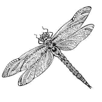 Hand gezeichnete libelle im zentangle-stil