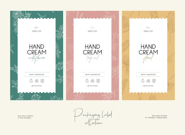Hand gezeichnete linie kunstvektorkosmetik-etikett-designschablone