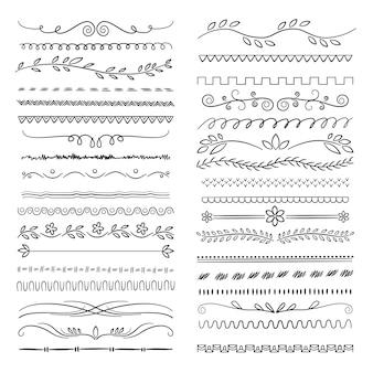Hand gezeichnete linien. blumen kritzeln dekorative webteiler hochzeit gekritzel dekoration