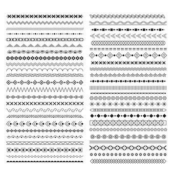 Hand gezeichnete linienränder. teiler mit geometrischen elementen, vintage gekritzelrahmengrafik, horizontaler dekorativer textdekorationsvektorsatz. abbildung, die die rahmenlinie teilt, gekritzel-schraffur-unterstrich