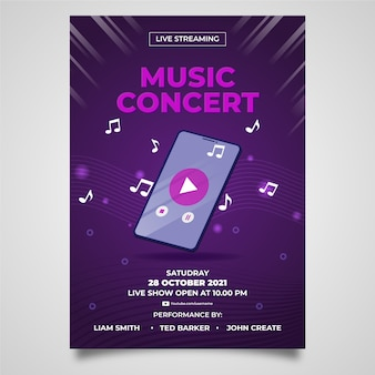 Hand gezeichnete live-streaming-musik konzert flyer vorlage