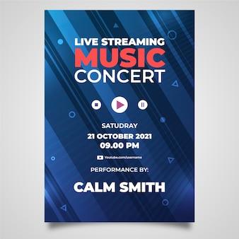 Hand gezeichnete live-streaming-musik konzert flyer