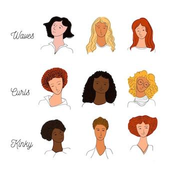 Hand gezeichnete lockige haartypen eingestellt