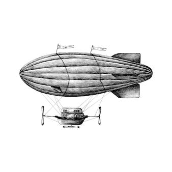 Hand gezeichnete luftschiff retro-stil