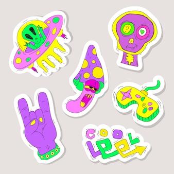 Hand gezeichnete lustige aufklebersammlung mit sauren farben
