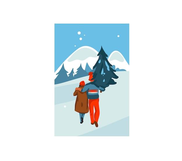 Hand gezeichnete lustige lager flache frohe weihnachtskarikaturkarte mit illustration des weihnachtspaares zusammen gekauft und tragen nach hause weihnachtsbaum lokalisiert auf landschaft
