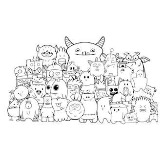 Hand gezeichnete lustige monstergruppe