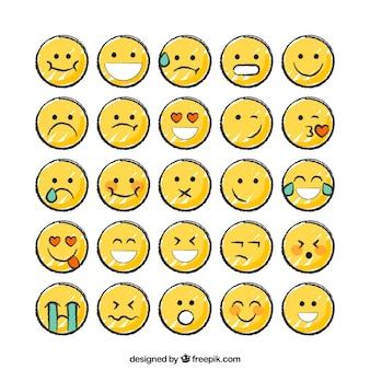 Hand gezeichnete lustige smiley-sammlung