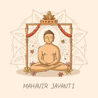 Hand gezeichnete mahavir jayanti illustration