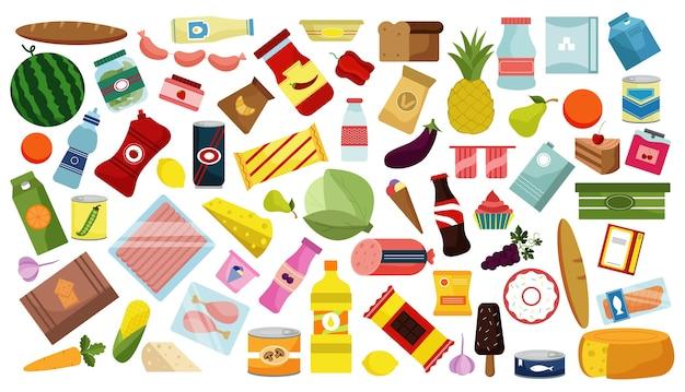Hand gezeichnete mahlzeit kritzeleien gesetzt. sammlung von bunten karikaturzeichnung skizziert modellvorlagen von lebensmitteln trinkt obst und gemüse auf weißem hintergrund. gesunde ernährung und junk-food-illustration.