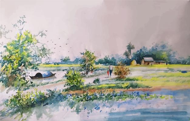 Hand gezeichnete malerei naturillustration der aquarelllandschaft