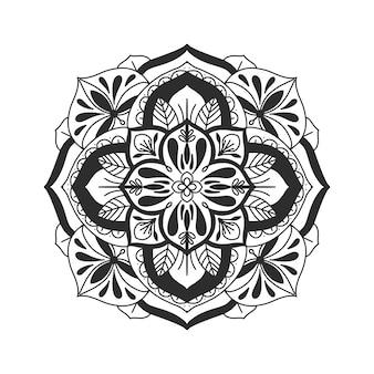 Hand gezeichnete mandala gerundete blume