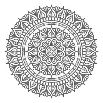 Hand gezeichnete mandala-illustration mit kreisstil für abstraktes und dekoratives konzept