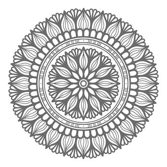 Hand gezeichnete mandalaillustration des umrissstils mit kreisstil