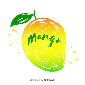 Hand gezeichnete mango und blatthintergrund