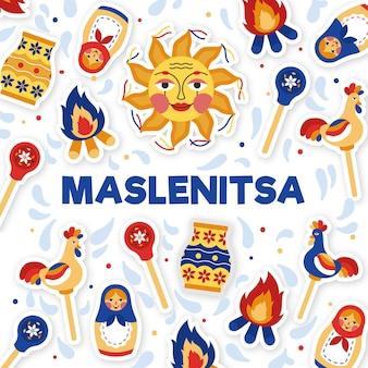Hand gezeichnete maslenitsa illustration