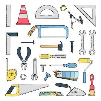 Hand gezeichnete mechanische bau-werkzeug-ikonen