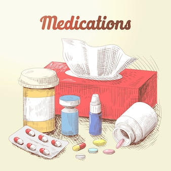 Hand gezeichnete medikamente illustration