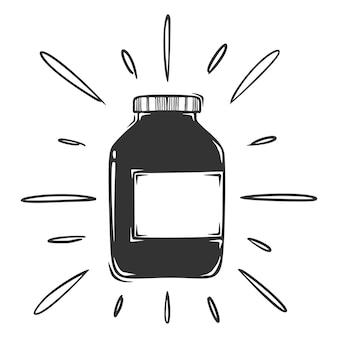 Hand gezeichnete medizinische flasche