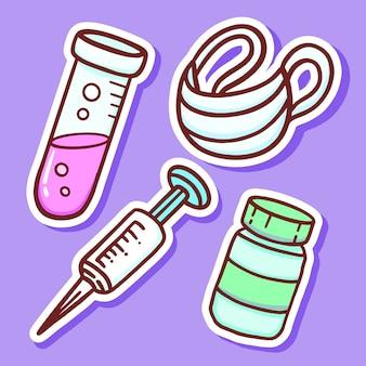 Hand gezeichnete medizinische werkzeuge karikaturaufkleber