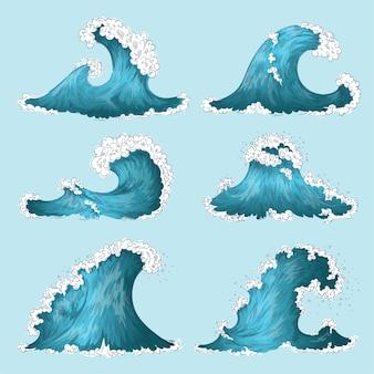 Hand gezeichnete meereswelle. cartoon gravierte welle gesetzt