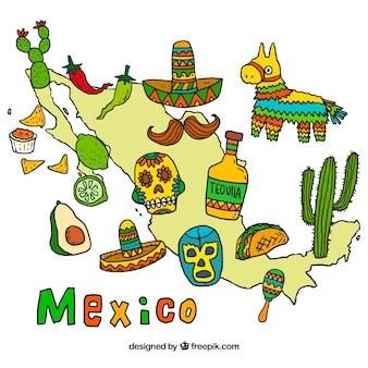 Hand gezeichnete mexiko-karte