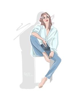 Hand gezeichnete modefrauenillustration